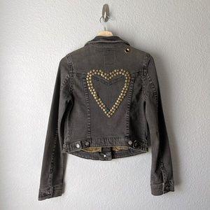 Free People Heart Studded Denim Jacket